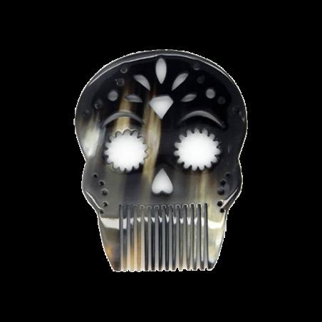 Peigne barbe en corne - Calavera Diamant